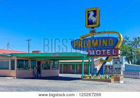 Tumcari, U.S.A. - May 21 2011: New Mexico, a vintage motel on the Route 66.