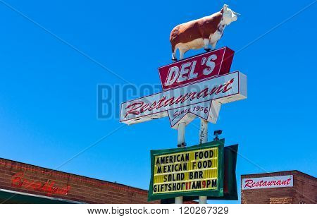 Tumcari ,U.S.A. - May 21 2011: New Mexico, a steack house sign on the Route 66.