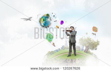 Humorous violin performer poster