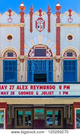 Gallup, U.S.A. - May 23, 2011: New Mexico, the decorated facade of a vintage theater on the Route 66.