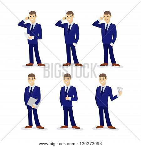 Set of cartoon businessmans. Vector illustration.