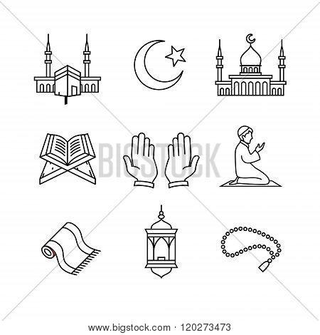 Muslim islam prayer and ramadan kareem