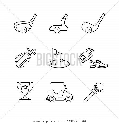 Golf sport and equipment thin line art icons set