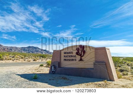 Mojave, U.S.A. - May 26, 2011: California, the National Reserve entrance near the Route 66.