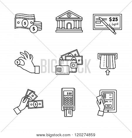 Banking icons thin line art set. Currency
