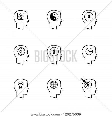 Human mind icons thin line art set