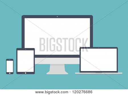 Gadget And Device Icons Set In The Style Flat Design On The Blue Background. Stock Vector Illustrati