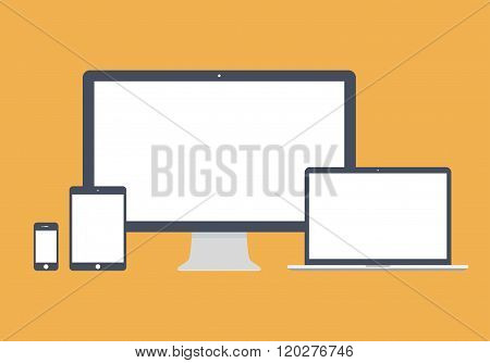 Gadget And Device Icons Set In The Style Flat Design On The Yellow Background. Stock Vector Illustra