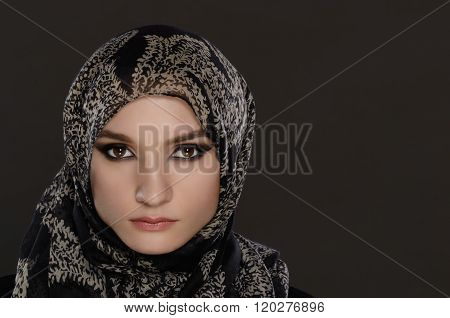 Arab Woman On A Gray Background