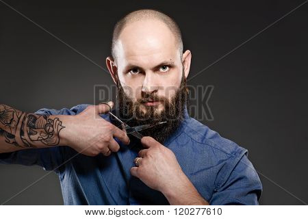 Portrait Of A Bearded Man Grooming His Beard With Scissors