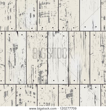 Imitation wood planks with nails. Vector seamless retro pattern