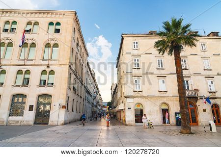 Split, Croatia, July 01, 2010: Unidentifed Tourists Visiting The Diocletian's Palace In Split. It's