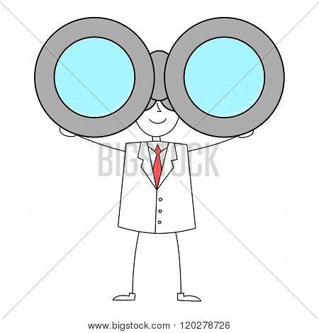 Cartoon man in suit with binoculars