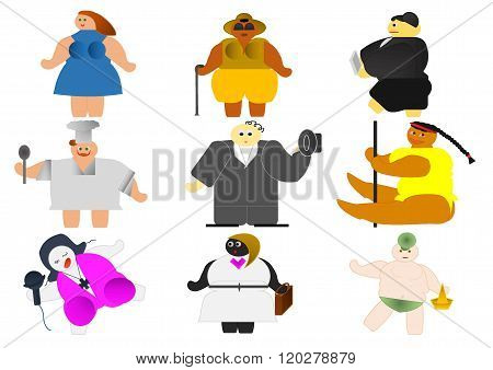 9 different people suffering from obesity, the scourge of the century.
