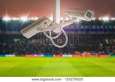 Cctv Security In Stadium Football Twilight Background.