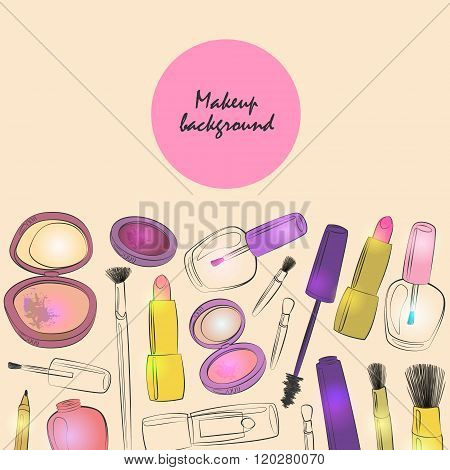 Vector Makeup And Beauty Products Background Vintage Style.