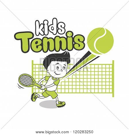 Young Boy. Boy Playing Tennis. Kids Tennis. Vector Illustration on White Background. Tennis in College. Tennis For Beginners. Tennis Tips. Player, Young Sportsman. Trainee Happy Player Junior.