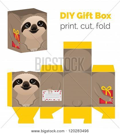 Adorable Do It Yourself DIY sloth gift box for sweets, candies, small presents. Printable color sche