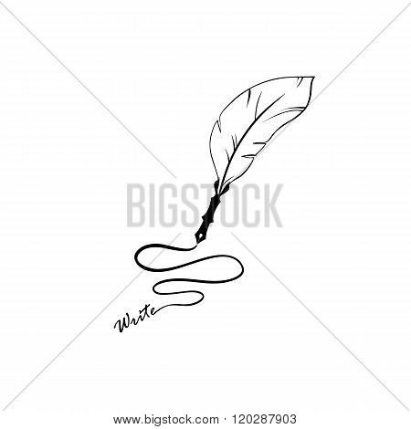 Writing Feather Pen - Vector icon isolated