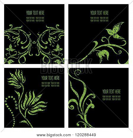 Vector Set Of Stylish Floral Backgrounds