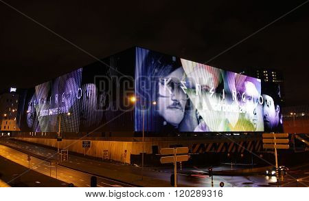 AMSTERDAM, THE NETHERLANDS - FEB 22TH 2016: The Ziggo Dome at Amsterdam with the Dutch rockband Kensington on the big led screen.