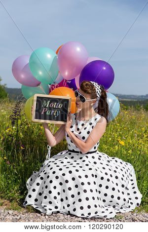 Retro Girl With A Petticoat Dress Holding A Board With Text Motto Party