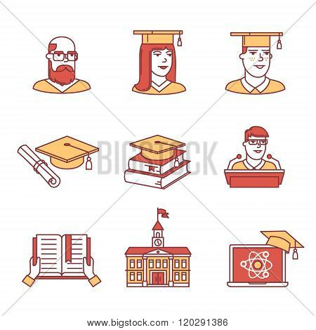 University and academic education signs set