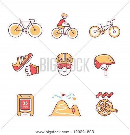 Bike cycling and biking accessories sign set