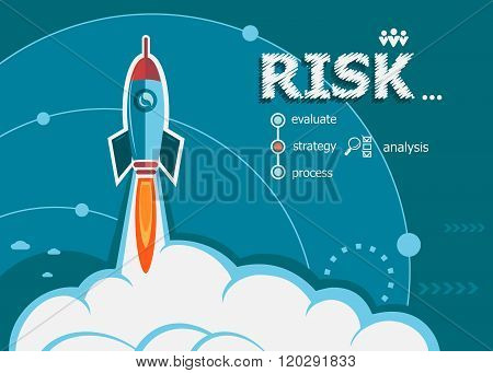 Risk And Concept Background With Rocket.