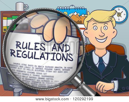 Rules and Regulations through Magnifier. Doodle Style.