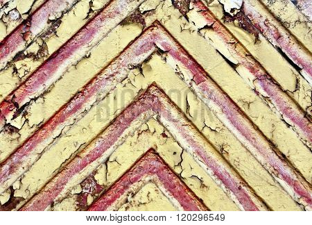 Red Lines On Yellow Metal Texture.