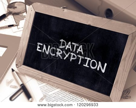 Handwritten Data Encryption on a Chalkboard. Composition with Chalkboard and Ring Binders, Office Supplies, Reports on Blurred Background. Toned Image. 3D Render. poster
