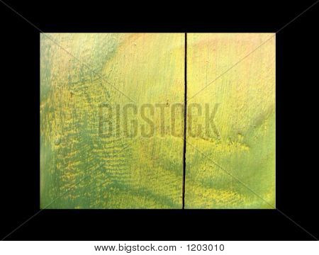 Wooden Board Painted By A Yellow And Green Paint