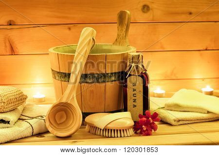 Sauna accessories with sauna oil wooden bucket ladle towels