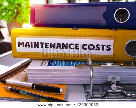 Yellow Office Folder with Inscription Maintenance Costs.