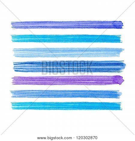 Watercolor brush strokes collection. Colorful watecolor pencil brushstrokes. Blue, indigo and lilac