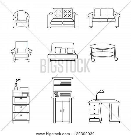 Vector illustration of black line furnitures for interiors, living rooms