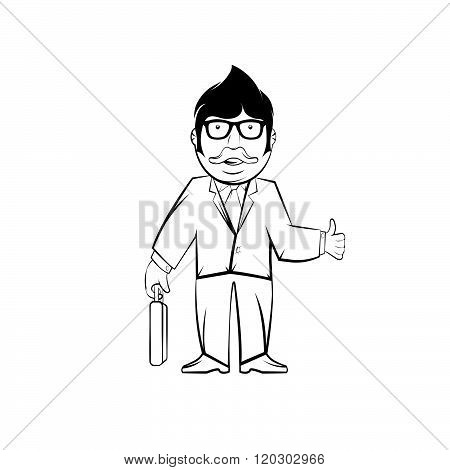 Hipster Businessman In Glasses With Case .hipster Professor In Glasses With Case