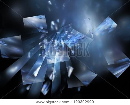 Abstract Fractal  Divergent Blue Rays And Fragments