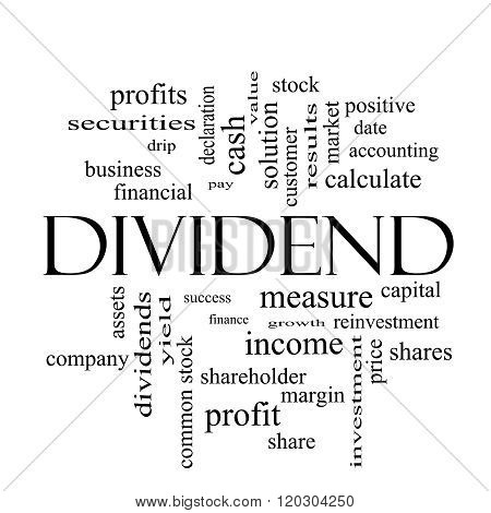 Dividend Word Cloud Concept In Black And White