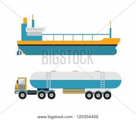 Gas oil transportation van vector.