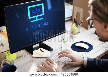 Algorithm Data Coding Process Diagram Concept