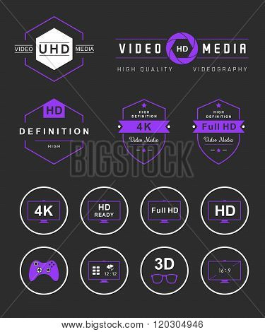 Television set symbols isolated. Vector collection label sign logo and badges tv smart tv and others formats tv and definition - Stock Vector.