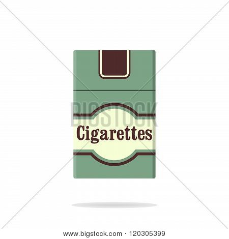 Cigarettes pack flat icon. Closed pack of cigarettes. Green cigarettes pack