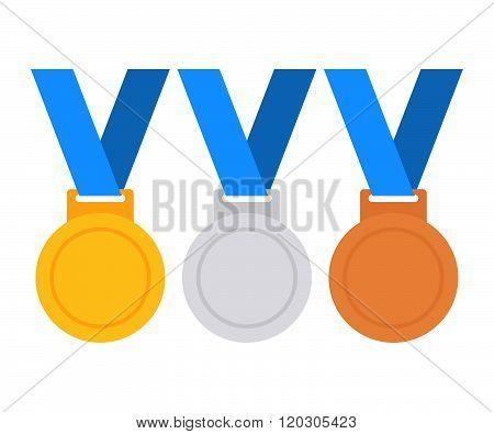 Gold medal. Silver medal. Bronze medal. Gold medal icon. Silver medal icon. Bronze medal icon