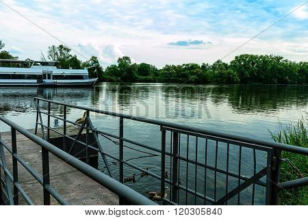 Landing stage on the river Main at Phillipsruhe Palace in Hanau, Germany