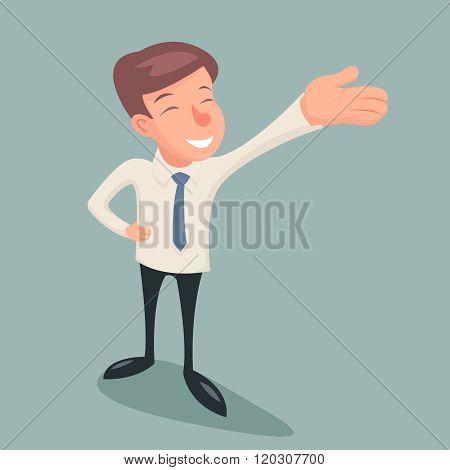 Vintage Businessman Character Hand Presentation Demonstration Designation Icon on Stylish Background