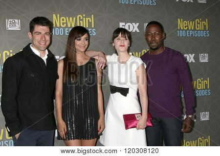 LOS ANGELES - MAR 3:  Max Greenfield, Hannah Simone, Zooey Deschanel, Lamorne Morris at the New Girl 100th Episode Party at the W Westwood on March 3, 2016 in Westwood, CA