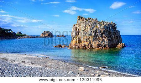 White Stone Beach On Pink Granite Coast, Brittany, France