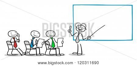 Teacher at coaching in front of group of business people